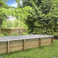 Couverture d'hiver sécurité 580gr grise pour piscine Pool'n'box