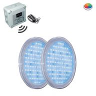 Pack complet 2 ampoules Led RVB 252 avec télécommande