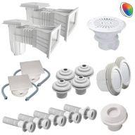 Kit pièces à sceller piscine 11x5m béton/liner (LED couleur RVB)
