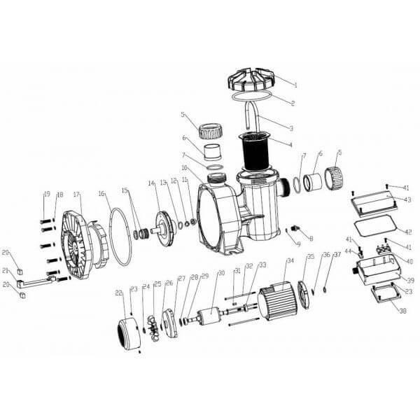 Bride condensateur n 43 pour pompe mcq mono mypiscine for Pieces detachees pompe piscine