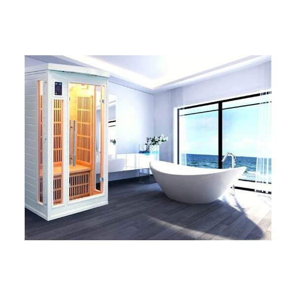 Sauna infrarouge soleil blanc 1 place france sauna mypiscine - Sauna infrarouge 1 place ...