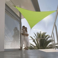 Voile d'ombrage imperm. triangulaire 5m polyester 200g/m²