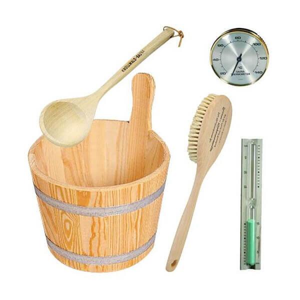 pack d 39 accessoires en bois pour sauna mypiscine. Black Bedroom Furniture Sets. Home Design Ideas