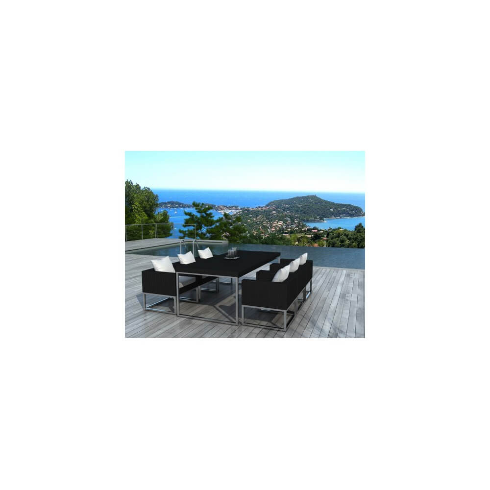 Table et chaises de jardin angel 6 places - Table de jardin resine tressee places dijon ...