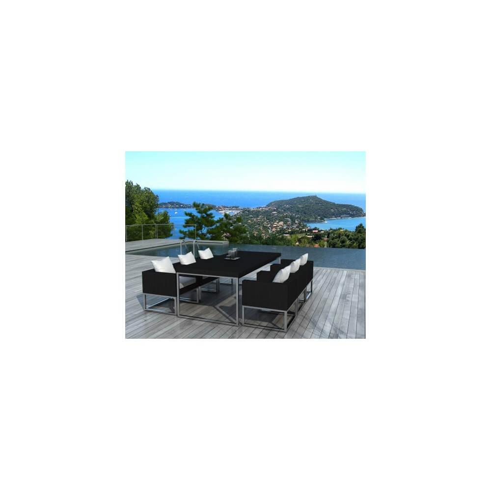 Table et chaises de jardin angel 6 places - Table et chaise resine tressee ...