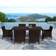Table et chaises de jardin Escadido 6 places en résine tressée