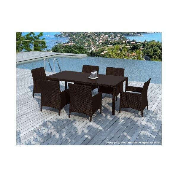Salon de jardin en r sine tress e escadido 6 places for Table chaise jardin resine tressee