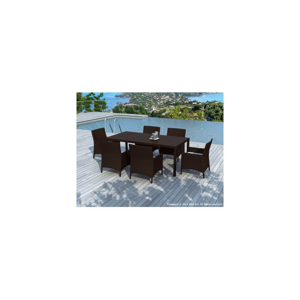 Salon de jardin en r sine tress e escadido 6 places - Table en resine ...