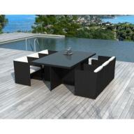 Table et chaises de jardin Malta 6 places en résine tressée