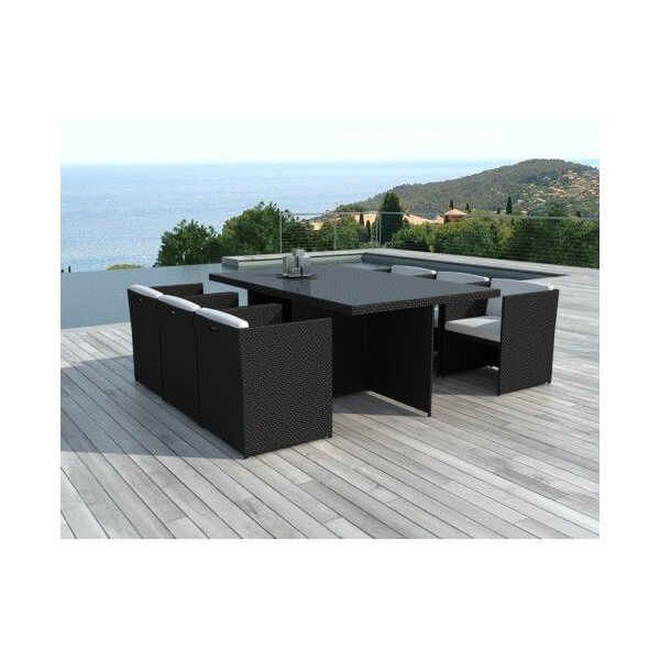 Salon de jardin malta 6 places mypiscine for Chaise longue jardin resine tressee