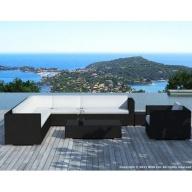 Salon de jardin d'angle Monaco 8 places en résine tressée