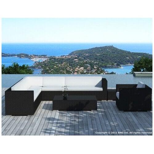 Salon de jardin d\'angle Monaco 8 places en résine tressée