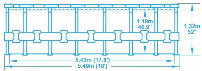 Piscine tubulaire power steel frame 549 x h132 cm mypiscine for Piscine hors sol ultra frame 549 x 132 cm