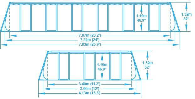 piscine hors sol power steel frame 732 x 366 x h132cm - Dimension Piscine Hors Sol