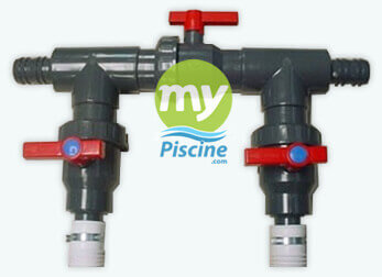 Kit by pass 3 vannes 38 50 mm gre mypiscine for Tuyau piscine hors sol diametre 38