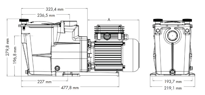 Dimensions Hayward Super Pump