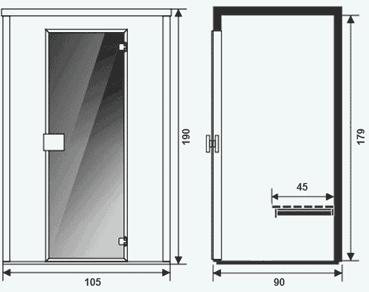 Dimensions de la cabine de sauna infrarouge Solea 1 place