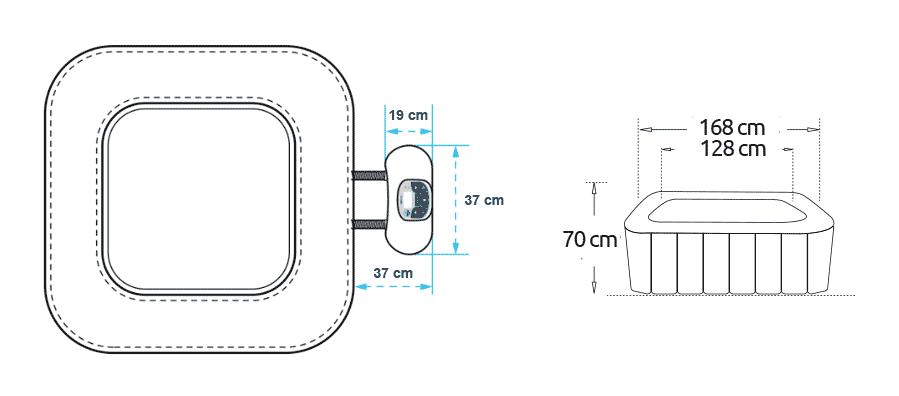 Dimensions spa gonflable Netspa Caïman